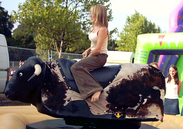 Rodeo bulls, inflatables, mechanical rides and simulators, party games